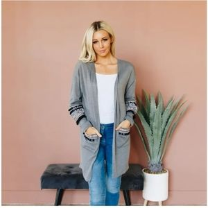 Long Sleeve Frill Hem Aztec Cardigan Sweater M